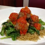 Lamb Meatballs with Quinoa and Roasted Red Pepper Sauce